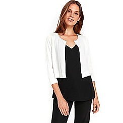 Wallis - Ivory embellished trim shrug