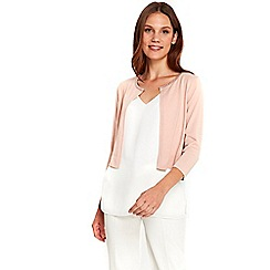 Wallis - Blush embellished trim shrug