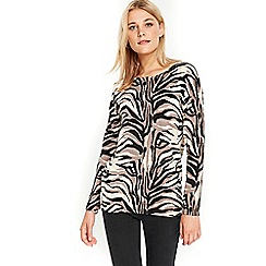 Wallis - Stone animal print jumper