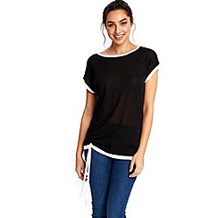 Wallis - Black tipped ruched top