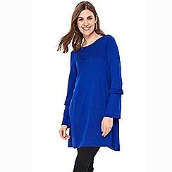 Wallis - Blue flare sleeve knitted tunic dress