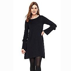 Wallis - Navy flare sleeve knitted dress