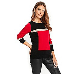 Wallis - Red colour block knitted jumper