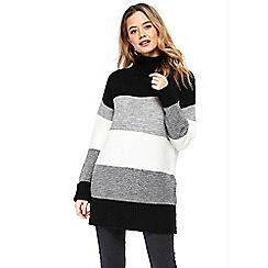 Wallis - Stone stripe ribbed dress