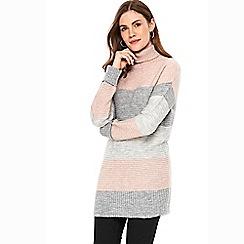 Wallis - Blush stripe ribbed dress