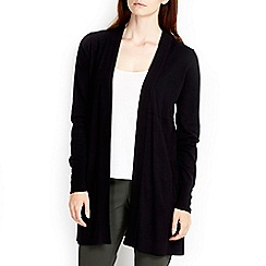 Wallis - Black button longline cardigan