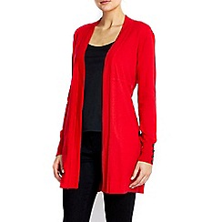 Wallis - Red button longline cardigan