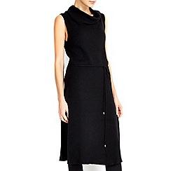 Wallis - Black sleevless belted roll neck dress