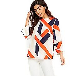 Wallis - Orange colourblock slash top