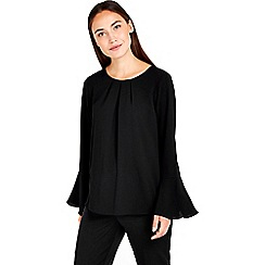Wallis - Black flute sleeve pop top