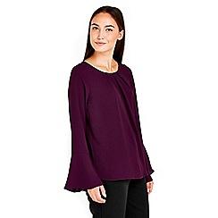 Wallis - Purple flute sleeve top