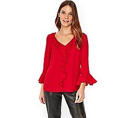 Wallis - Red ruby ruffle top