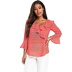 Wallis - Coral spotted flute sleeve top