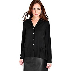 Wallis - Black peplum hem shirt