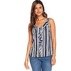 Wallis - Ink stripe ruffle camisole top