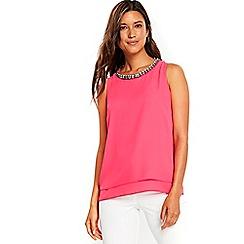 Wallis - Pink embellished layered top