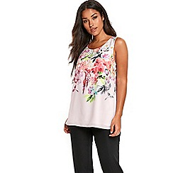 Wallis - Pink floral print double layer top