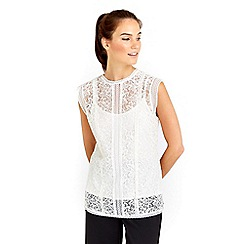 Wallis - White all over lace shell top