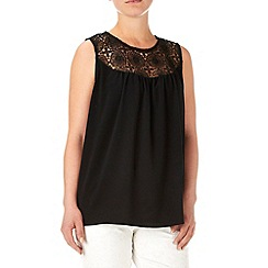 Wallis - Black lace panel blouse