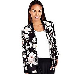 Wallis - Black floral bomber jacket