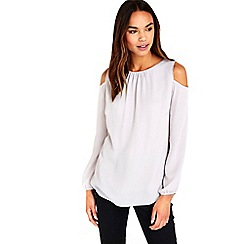 Wallis - Grey bobble trim cold shoulder blouse