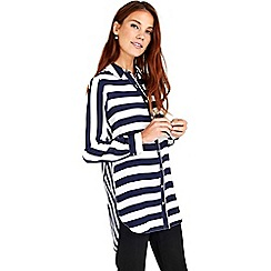 Wallis - Navy mixmatch stripe top