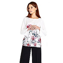 Wallis - White floral satin top