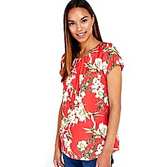 Wallis - Red tropical print shell top