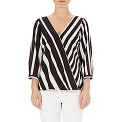 Wallis - Cream striped wrap top
