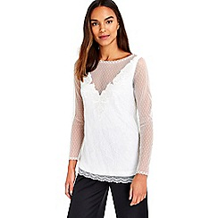 Wallis - Ivory lace embroidered top