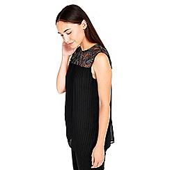 Wallis - Black embellished pleat top