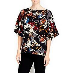 Wallis - Black printed kimono top