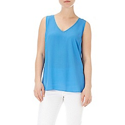 Wallis - Blue v-neck tie back vest