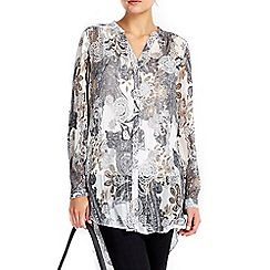 Wallis - Grey paisley burnout top