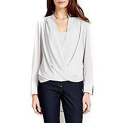 Wallis - Grey wrap layer blouse
