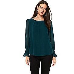 Wallis - Green cuff blouse