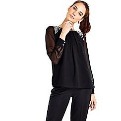 Wallis - Black embellished shoulder top