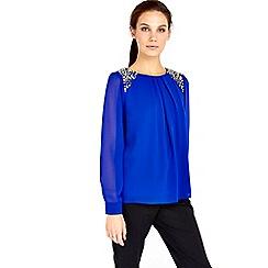 Wallis - Cobalt embellished shoulder top