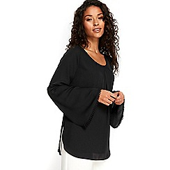 Wallis - Black bobble trim flute sleeves top