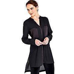 Wallis - Black satin back longline shirt
