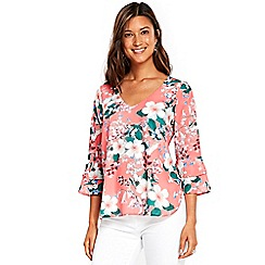 Wallis - Coral blossom v-neck top