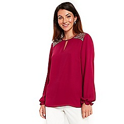 Wallis - Berry embellished cuff top