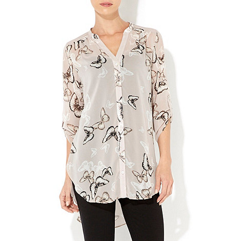 Wallis - Stone butterfly print shirt