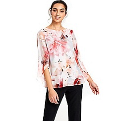 Wallis - Floral flute sleeve shell top