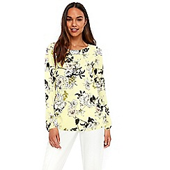 Wallis - Lime green floral woven top