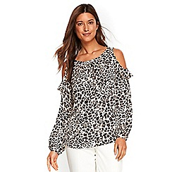 Wallis - Animal cold shoulder top