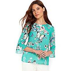 Wallis - Green butterfly print flute sleeves blouse