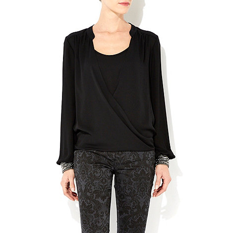 Wallis - Black embellished cuff wrap top