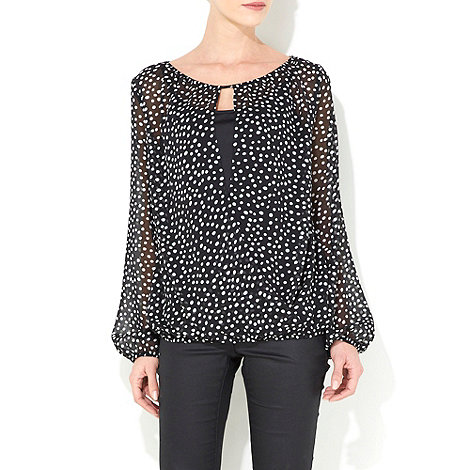 Wallis - Black & white polka dot wrap top