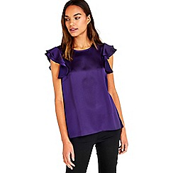 Wallis - Purple ruffle button back top